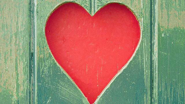Heart against green